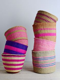 Kenyan basket: Pink Collection from Decorator's Notebook Handmade Furniture, Summer Colors, Basket Weaving, Woven Baskets, Seagrass Baskets, Bamboo Weaving, Home Accessories, Creations, Textiles