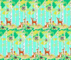 Birch forest with woodland friends aqua fabric by katarina on Spoonflower - custom fabric