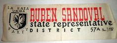 Rare 1972 La Raza Unida bumper sticker Texas State Representative Race.  Ruben Sandoval was a civil rights attorney in San Antonio.