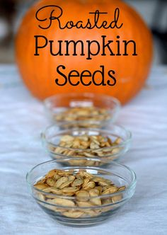Don't know what to do with the pumpkin seeds when you are baking a pumpkin. Roast them with a little seasoning for a healthy snack.