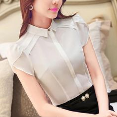 2016 dressed shirt Formal Summer New Short Puff Sleeve Turn Down Collar Shirts Office Business Blouses Shirts Easy Care Tops _ - AliExpress Mobile Sewing Blouses, Moda Chic, Fashion Outfits, Womens Fashion, Fashion Tips, Casual Skirt Outfits, Cute Blouses, Western Outfits, Collar Shirts