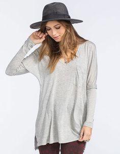 FULL TILT Drop Shoulder Womens Pocket Top 248472595 | Knit Tops & Tees