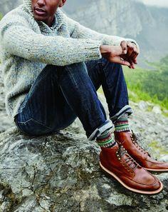J.Crew men's shawl-collar sweater, 770 denim cabin pant in Schaeffer wash, Kenton pacer boots and Chup™ Fair Isle socks.