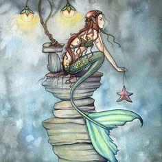 'Mermaid's Perch Fantasy Mermaid Art by Molly Harrison' Poster by Molly Harrison Fantasy Mermaids, Real Mermaids, Mermaids And Mermen, Fantasy Kunst, Fantasy Art, Illustrations, Illustration Art, Mermaid Tale, Mermaid Fairy