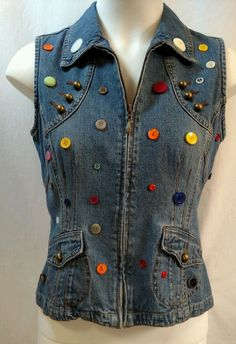 S French Cuff Womens Fashion Vest Blue Denim Colorful Buttons Zip Front pockets  #FrenchCuff #Casual