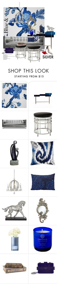 Blue & Silver contest by gloriettequartet on Polyvore featuring interior, interiors, interior design, home, home decor, interior decorating, Jonathan Adler, Universal Lighting and Decor, Bob Collins & Sons and Mina Victory