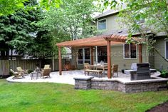 Patio, Firepit, extension, like the stone wall around grill-extra seating