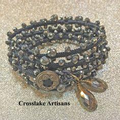 Five-wrap pyrite bracelet with pyrite drop pendants by CrosslakeArtisans on Etsy