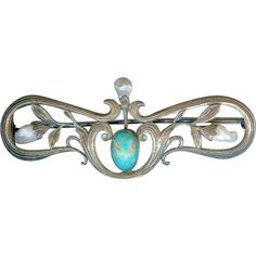 Superb Antique Arts & Crafts Sterling Silver Turquoise Pearl Cloak Brooch Pin