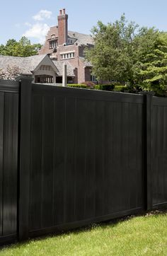 Where can I get black vinyl fence? With Grand Illusions Color Spectrum! V300-6 Illusions Vinyl Tongue and Groove Privacy Fence shown in the Grand Illusions Color Spectrum Black (L105).