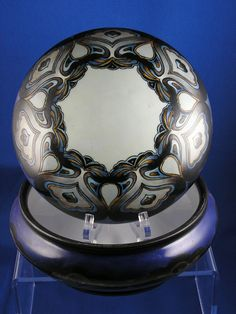 Favorite Bavaria Arts & Crafts Blue, Brown & Gray Covered Jar (c.1910-1930)