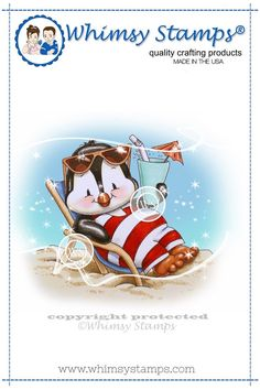 Crissy Armstrong Collection Penguin Beach Chair The Crissy Armstrong Collection for Whimsy Stamps. Deeply etched rubber mounted on cling cushion foam, untrimmed. Approximate size in inches: 3 x Whimsy Stamps, Digi Stamps, Best Chairs Glider, Image Stamp, Baby Penguins, Black And White Lines, Animal Books, Penny Black, Summer Crafts