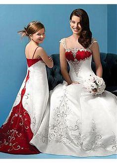Christmas bridesmaid dresses - Wedding Dresses and Bridal Fashion Red White Wedding Dress, Red And White Weddings, Colored Wedding Dresses, Bridal Dresses, Burgundy Wedding, Red And White Dress, White Gowns, Pink White, Masquerade Wedding Dresses