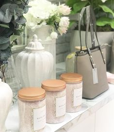 """Florist, Home & Gift Store on Instagram: """"These bath salts from @papinellesleepwear are always a go to gift. . . . #bathtime #giftideas #giftstore #florist #thatprettymarket…"""" Gift Store, Bath Salts, Bath Time, Home Gifts, Jar, Table Decorations, Shop, Instagram, Home Decor"""