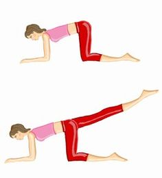 Extension de hanche jambe tendue. Au sol, à quatre pattes, agenouillez-vous en vous appuyant sur vos coudes. Inspirez et tendez une jambe en orientant le talon vers l'arrière. Expirez sur le mouvement, puis revenez à la position de départ. Et recommencez. Programme : - Débutante : 3 X 25 répétitions avec 2 min de repos. - Intermédiaire : 4 X 35 répétitions avec 1 min 30 de repos. - Confirmée : 5 X 40 répétitions avec 1 min de repos.