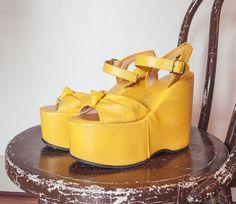 Vintage 1970s Platforms  Yellow Leather by dejavintageboutique