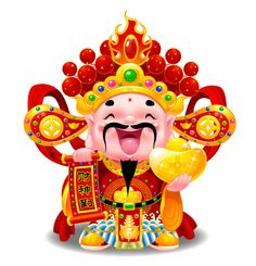 WeChina  Feb 12 The of First lunar month is CaiShen (God of Wealth) day! Friends joyously exchange greeting of GongXiFaCai! by WeChina ( Chinese Crafts, Chinese Art, Chinese New Year Wallpaper, Chinese Festival, New Year Designs, Chinese Cartoon, Birthday Blessings, Kawaii Doodles, China Painting