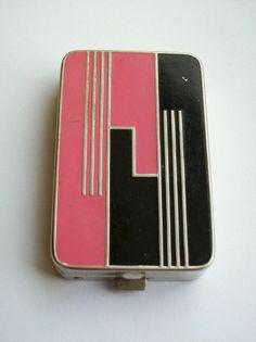 Antique Art Deco DUBARRY Powder Rouge Compact Vanity Case Vintage R HUDNUT