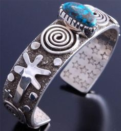 Our product of the week is this gorgeous Kingman Turquoise & Silver Petroglyph Bracelet. The designs are Anasazi inspired and the bracelet is handmade by Navajo silversmith, Alex Sanchez.  #KingmanPetroglyphBracelet #NavajoJewelry #N8tivearts