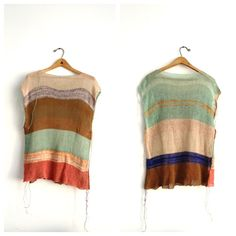 Love these watercolour-inspired colourways: Linen Color Block Top | Coral, Camel, Nude, Aqua