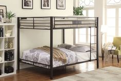 """Kaleb collection black sand finish metal frame queen over queen bunk bed set. Ladder is reversible, full length guard rail. Measures 83"""" x 63"""" x 65"""" H. Some assembly required."""