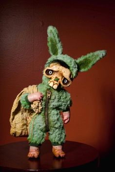 Fuzzy green skully bunny Halloween trick or treater monster doll ooak. $200.00, via Etsy.