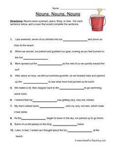 Columbian Exchange Worksheet Excel Noun Worksheet Sample From Studychampscom  Homeschool Language  Letter B Handwriting Worksheets with Chemistry Chemical Equations Worksheet Word Nouns Name A Person Place Thing Or Idea For Each Sentence Below Add A  Noun That Would Complete The Sentence Fractions Of Numbers Worksheets Excel
