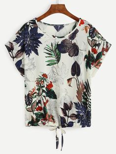 Shop Tropical Print Drawstring Hem T-shirt online. SheIn offers Tropical Print Drawstring Hem T-shirt & more to fit your fashionable needs.