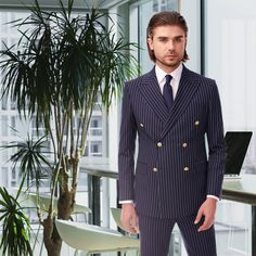 Costum in dungi cu inchidere dubla, culoare bleumarin cu dungi albe. Double Breasted Suit, Suit Jacket, Costumes, Suits, Jackets, Fashion, Down Jackets, Moda, Dress Up Clothes