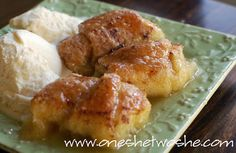Looks good and easy to make!   Apple Dumplings - Apples, Crescent Rolls, Butter, Sugar, Vanilla, and Mountain Dew (or Sprite) we had these for my bridal luncheon dessert and it was amazing