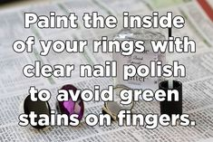 You may have to repeat the process every now and again, but it keeps your rings from turning a copper color and you won't have green stains!