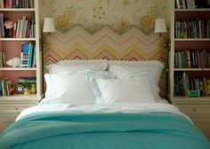 Stunning headboard and subtle colors, plus bookshelves flanking the bed - via Matouk — Gorgeous Girl's Rooms