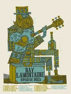 . Ray Lamontagne, Tour Posters, Band Posters, Music Posters, Red Rock Amphitheatre, Dog Artist, Amazing Drawings, Graphic Design Posters, Illustrations And Posters