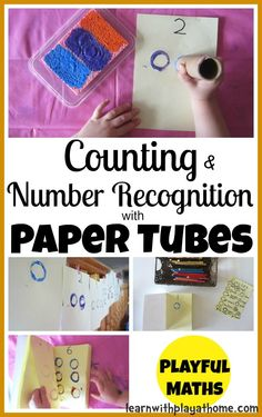 Counting & Number Recognition with Paper Tubes. Playful Maths from Learn with Play at home.