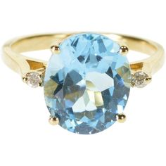 14K Blue Topaz Diamond Accented Oval Prong Set Ring Size 7 Yellow Gold -- found at www.rubylane.com #VintageBeginsHere