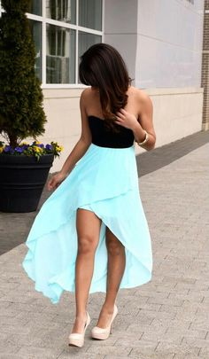 Tiffany blue high low shirt and nude heels Clothing is an Obsession nude heels |2013 Fashion High Heels|