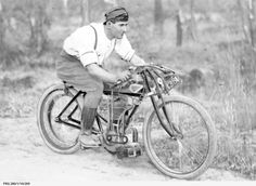 """E. Kosler, a champion motorcycle rider in South Australia riding his? Rova Kent 3.5 H.P. 496cc four-valve? Same forks and tank as C. W. A. Korner. Tank quite possibly says """"KENT""""."""