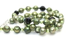 Gorgeous Green Potato Pearls, Twist Black Agates and Tiny Iridescent Green Crystals Necklace | AyaDesigns - Jewelry on ArtFire