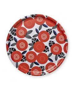 Plateau en bouleau - rond - 35cm - Fleurs oranges - Mr & Mrs Clynk