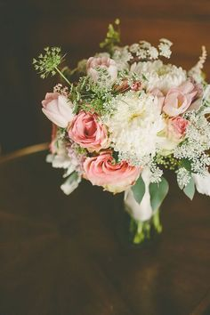 Bridal bouquet: blush pink tulips and roses with white chrysanthemums and Queen Anne's Lace | Los Angeles Athletic Club | Gina and Ryan Photography