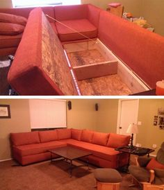 DIY Sofas & Couches DIY Storage Sectional Couch A Patriotic Residence Adorning Theme Are you onerous Diy Sofa, Diy Storage Couch, Sofa Couch, Built In Storage, Diy Kids Furniture, Couch Furniture, Cheap Furniture, Outdoor Couch, Built In Couch