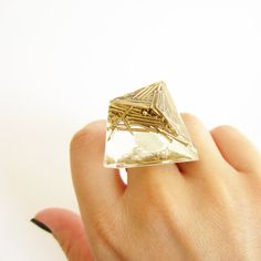 ROCK resin RING Gold brass NAILS diamond. Sterling silver 925 base. Luxury styled to rock ring  by REDbold  rock size S €65.00 ,  M €70.00, size L €80.00  @REDbold #ring #bold #gift