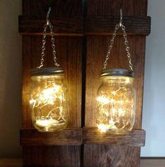 Canning Jar Lights, Hanging Mason Jar Lights, Mason Jar Lanterns, Mason Jar Vases, Blue Mason Jars, Mason Jar Lighting, Mason Jar Crafts, Mason Jar Diy, Glass Jars