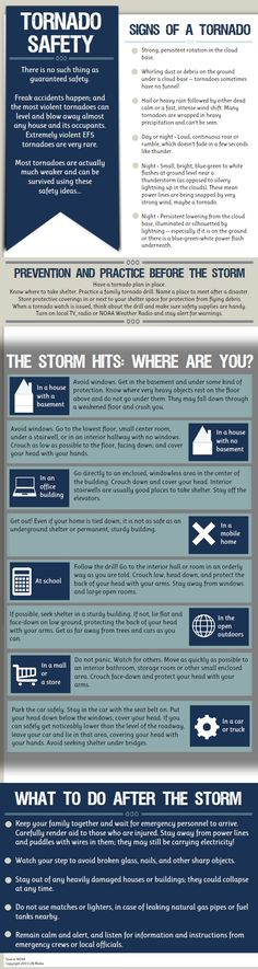 Infographic: Tornado Safety As much as I hate to think about this. Survival Blog, Survival Prepping, Survival Skills, Doomsday Prepping, Tornado Preparedness, Disaster Preparedness, In Case Of Emergency, Emergency Kits, Emergency Supplies