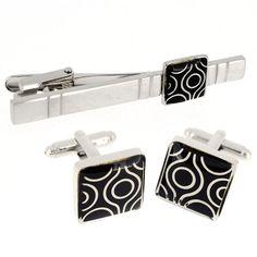 Antique Black Pattern Cufflinks And Tie Clip Set