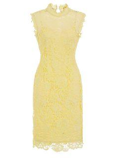Womens **Paper Dolls Lemon Lace High Neck Dress- Lemon