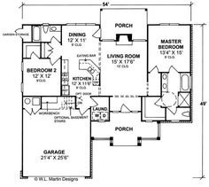 Merveilleux House Plan #178 1047 : 2 Bedroom, 1394 Sq Ft Country   Ranch Home | TPC |  Marquette. Cottage Floor PlansCountry ...