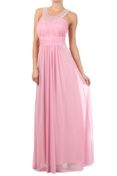 Long Bridesmaid Dress with Beaded Neckline