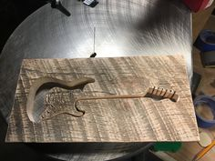 Fender guitar scroll saw project with pallet wood