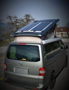 Solaranlage für den VW California Comfortline und Beach. Komplettsystem mit zwei Solarpanel (Solarmodul) auf einem Spezial Dachblech montiert.